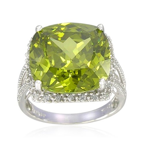 Sterling Silver Cushion-Shaped Created Peridot Ring, Size 5