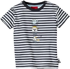 Salt & Pepper - Camisa a rayas con cuello redondo de manga corta para bebé