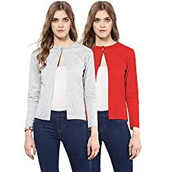 Skidlers Women's Shrug (Pack of 2) (SKD-9-MELANGE-9-RED-COMBO)