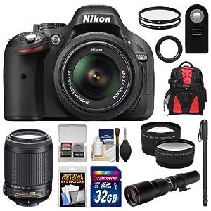 Nikon D5200 Digital SLR Camera & 18-55mm G VR DX AF-S Zoom Lens (Black) with 55-200mm VR + 500mm Telephoto Lens + 32GB Card + Backpack + Tele/Wide Lenses + Monopod + Accessory Kit