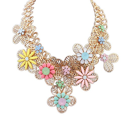 The Starry Night Elegant Statement Gold Plated Hollow Out Petal Splicing Joker Water Color Flower Necklace For Womens Girls