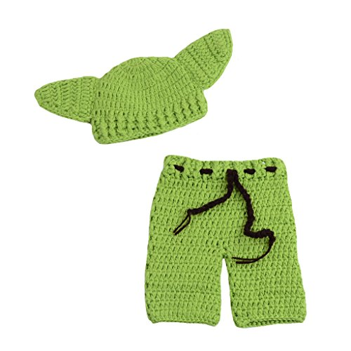 CX-Queen Newborn Infant Baby Photography Prop Crochet Star WarsYoda Hat Pants