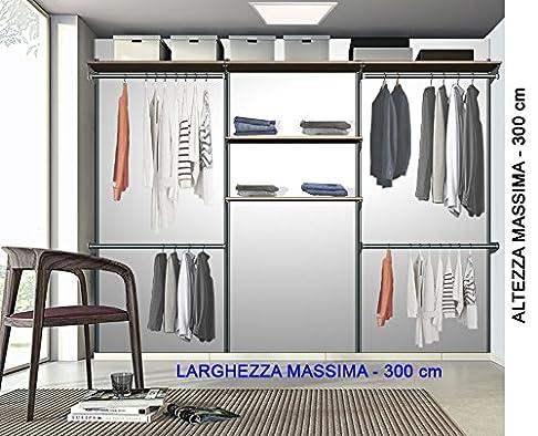 Cabina armadio completa con ripiani e tubi appenderia (alluminio no verniciatura)