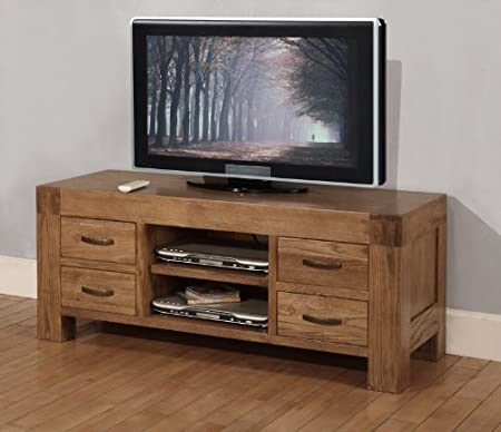 Devon widescreen tv cabinet with 4 drawers solid reclaimed oak wood furniture