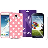 Fosmon 2 in 1 Bundle for Samsung Galaxy S4 IV / I9500 - 1x Fosmon DURA Series SLIM-Fit Case Polka Dot Skin Cover (Baby Pink) - 1x Fosmon Anti-Glare (Matte) Screen Protector Shield