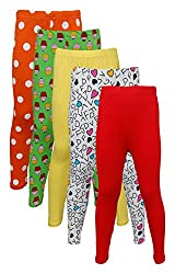 Little Stars Girls' Cotton Regular Fit Leggings- Pack of 5 (Po5L_109_34, Multi-Colour, 13-14 Years)