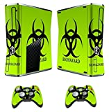 GamesDur Designer Skin Sticker for Xbox 360 Slim Console with Two Wireless Controller Decals- Biological harzard