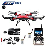 Landvo JJRC H8D FPV Headless Mode RC Quadcopter with 2MP HD Camera Bundle with FPV Monitor, Adapter and Accessories (24 Items)