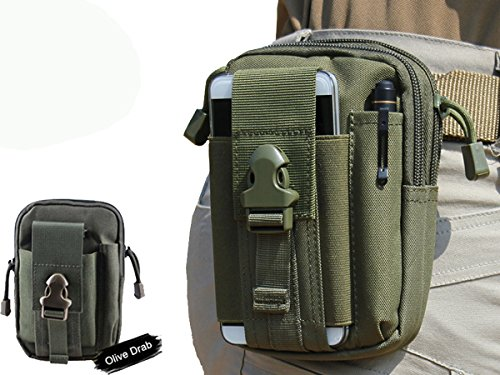 LefRight(TM) 1000D Tough Duty Military Black Tactical Molle EDC Compatible Universal Casual Rock Outdoor Gear Holster Utility Pouch Hiking Carrying Big Capacity Tools Belt Waist Bag for iPhone 6 iPhone 6 Plus with Protective Case