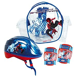 spiderman protective helmet and pads set with bag amazon. Black Bedroom Furniture Sets. Home Design Ideas