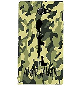 Fuson Millitary Pattern Back Case Cover for SONY XPERIA M2 - D3689
