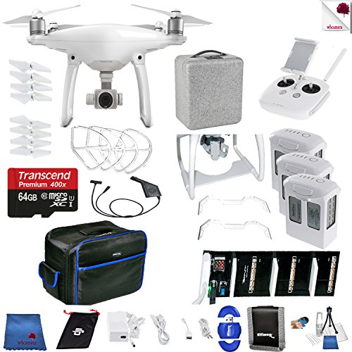 DJI Phantom 4 Air Time Bundle Includes: DJI Phantom 4 Drone + 3 Batteries (total) + Backpack + 64 GB Memory Card + Controller + Foam Case + More