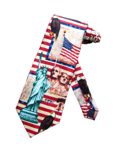Steven Harris Symbols and Landmarks of the US Necktie - Red - One Size Neck Tie