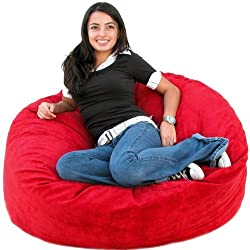 3-feet Cinnabar Cozy Sac Bean Bag Chair Love Seat