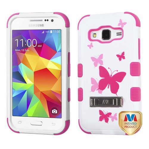 MyBat Samsung G360 Prevail LTE Tuff Hybrid Protector Cover with Stand - Retail Packaging - Butterfly Dancing/Hot Pink