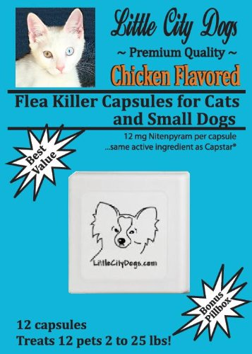 Chicken Flavored Flea Killer Capsules for Small Dogs (2-25 Pounds) - 12 Capsules Pack