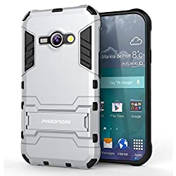 J1 Ace Case, Pasonomi [Slim Fit] [Kickstand Feature] Hybrid Dual Layer Armor Defender Full Body Protective Case Cover for Samsung Galaxy J1 Ace (J110M) 4.3 inch 2015 (Silver)