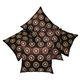 Brown Small Round Floral Embroidered Cushion Covers Set Of 5 (40X40 Cms)