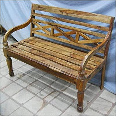 Solid Wood Carved Antique Style Outdoor Sofa