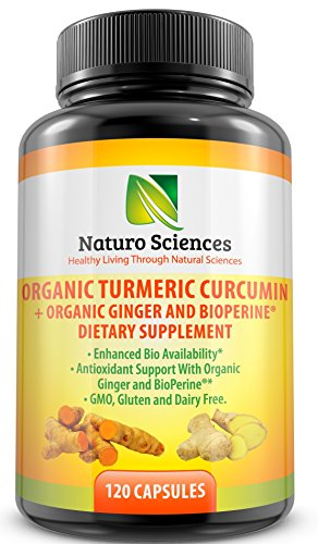 Organic-Turmeric-Extract-Curcumin-with-BioPerine-and-Ginger-Powder-By-Naturo-Sciences-120-Capsules-Natural-Dietary-Supplement-with-Enhanced-Bioavailability-Antioxidant-and-Joint-Support