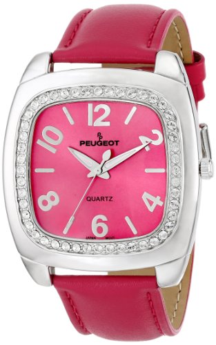 Peugeot Women's 310FS Silver-Tone Swarovski Crystal Accented Fuchsia Leather Strap Watch