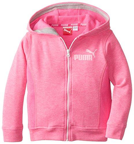 PUMA Little Girls' Slub Zip Hoodie, Pink Glo, 2T