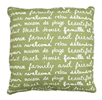 Thro by Marlo Lorenz 6903 La Plage French Words Indoor/Outdoor Decorative Pillow, 20 by 20-Inch, Dark Citron by Thro by Marlo Lorenz
