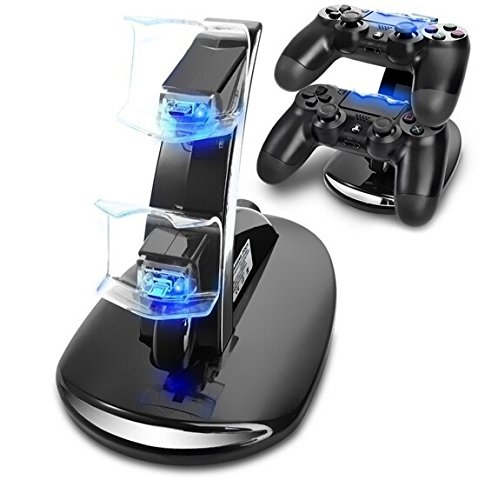Dual-USB-Charging-Charger-Dock-Station-Stand-for-Playstation-4-PS4-Controller-F1380-Games-Accessories-Color-Black