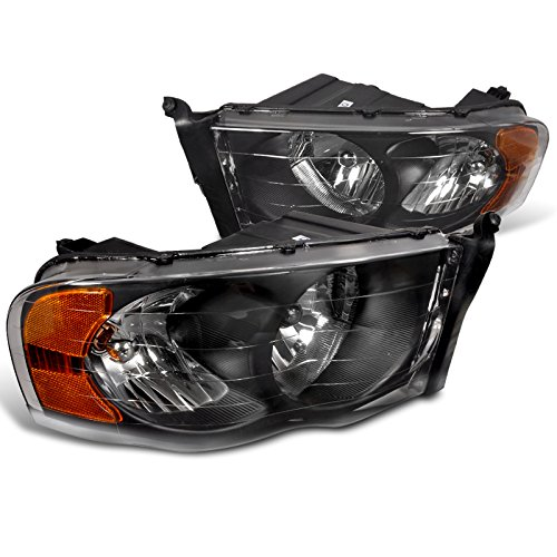 Spec-D Tuning 2LH-DGP02JM-RS Dodge Ram Black Diamond Front Head Lights Lamps (2003 Dodge Headlights compare prices)