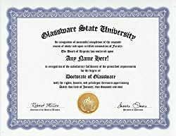 Glassware Degree- Custom Gag Diploma Doctorate Certificate (Funny Customized Joke Gift - Novelty Item)