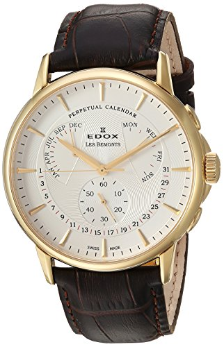 Edox-Mens-Les-Bemonts-Swiss-Quartz-Stainless-Steel-and-Leather-Dress-Watch-ColorBrown-Model-01602-37J-AID