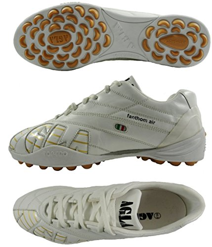 AGLA PROFESSIONAL FANTHOM AIR OUTDOOR scarpe calcetto in pelle con anti-shock (EUR 43.5, BIANCO )