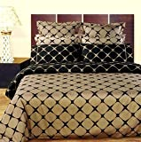 Taupe & Black Bloomingdale 8PC Egyptian Cotton Duvet Cover with Sheet Set,  ....