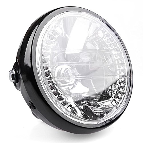 """Hot 6 1/2"""" Bright Black Motorcycle Clear Amber 26 Leds Halogen Halo Headlight Turn Signal For Harley"""