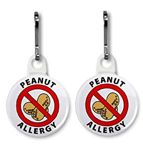 White PEANUT ALLERGY Medical Alert Pair of 1 inch White Zipper Pull Charms from Creative Clam