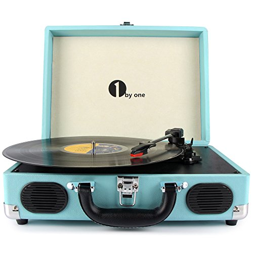 1byone-Belt-Drive-3-Speed-Portable-Stereo-Turntable-with-Built-in-Speakers-Supports-RCA-Output-Headphone-Jack-MP3-Mobile-Phones-Music-Playback-Turquoise
