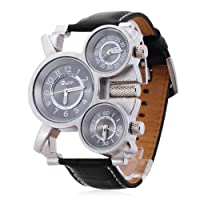 Multiple Time Zone Men sports watch Thermometer Compass decoration quartz watches mens wristwatch (Black)