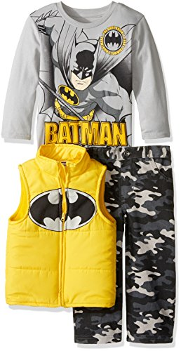 Warner Brothers Boys' Toddler Boys' Batman 3 Piece Vest Set with Camo Pants and T-Shirt at Gotham City Store