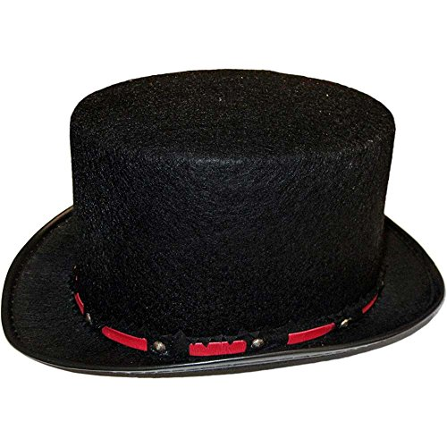 Kids Black Tuxedo Top Hat with Red Band - One Size