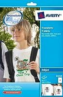 AVERY - E3240 - 40 transferts T-shirts pour textiles clairs. 148,4x210mm (format A5). Impression jet d'encre. 2 transferts par feuille A4