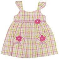 Sweet& Soft- Toddler Girl's Plaid Pink/Green Floral Sleeveless Dress 2T 3T 4T