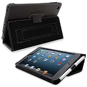 Snugg iPad Mini & Mini 2 Case - Leather Smart Cover with Kick Stand (Black) for Apple iPad Mini With Retina