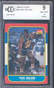 1986-87 fleer #68 KARL MALONE rc rookie card BGS BCCG 9