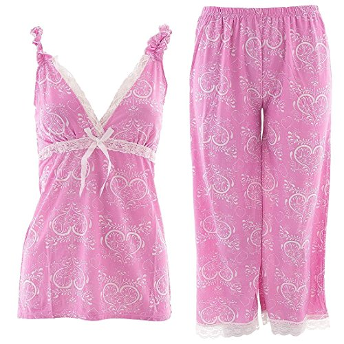 Lucy Loungewear Valentine 39 S Day Pink And White Capri Women