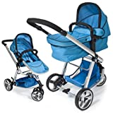 TecTake 3 in 1 Pushchair stroller combi stroller buggy baby jogger travel buggy kid's stroller blue