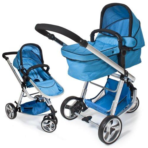 TecTake 3 in 1 Kinderwagen Kombikinderwagen Buggy Babyjogger Reisebuggy Sportwagen Kids blau