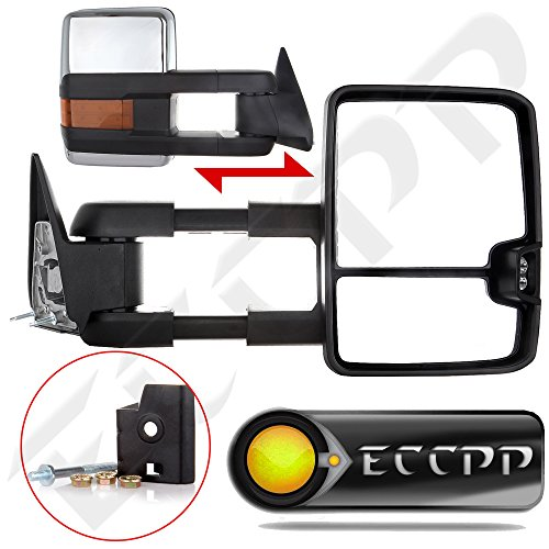 ECCPP Manual Tow mirrors for 88-98 Chevy GMC C/K Truck Chrome Towing Mirrors Manual NO Signal Side Pair (1995 Gmc Yukon Tow Mirrors compare prices)