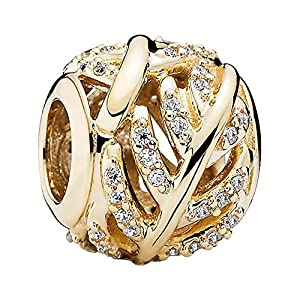 PANDORA Charm 14K Gold Light as A Feather with Clear CZ 750831CZ