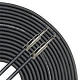 GLS Audio 25 feet Speaker Cable 16AWG Patch Cords - 25 ft 1/4 to 1/4 Professional Speaker Cables Black 16 Gauge Wire - Pro 25' Phono 6.3mm Cord 16G - Single