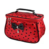 Women Heart Pattern Bowknot Accent Rectangle Cosmetic Bag Pouch Red